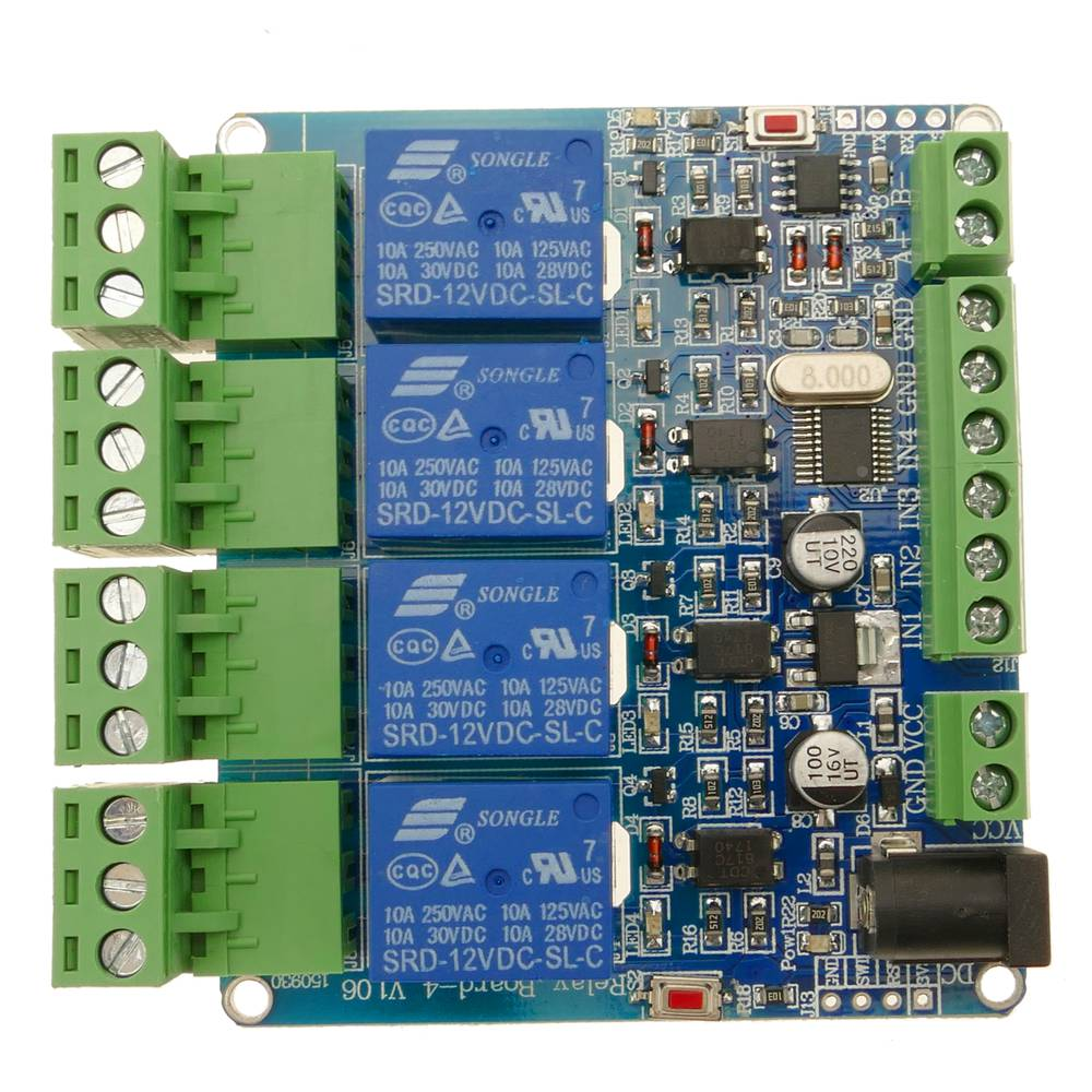 Printed circuit with 4 relays with Modbus RTU DIY STM8S103, and