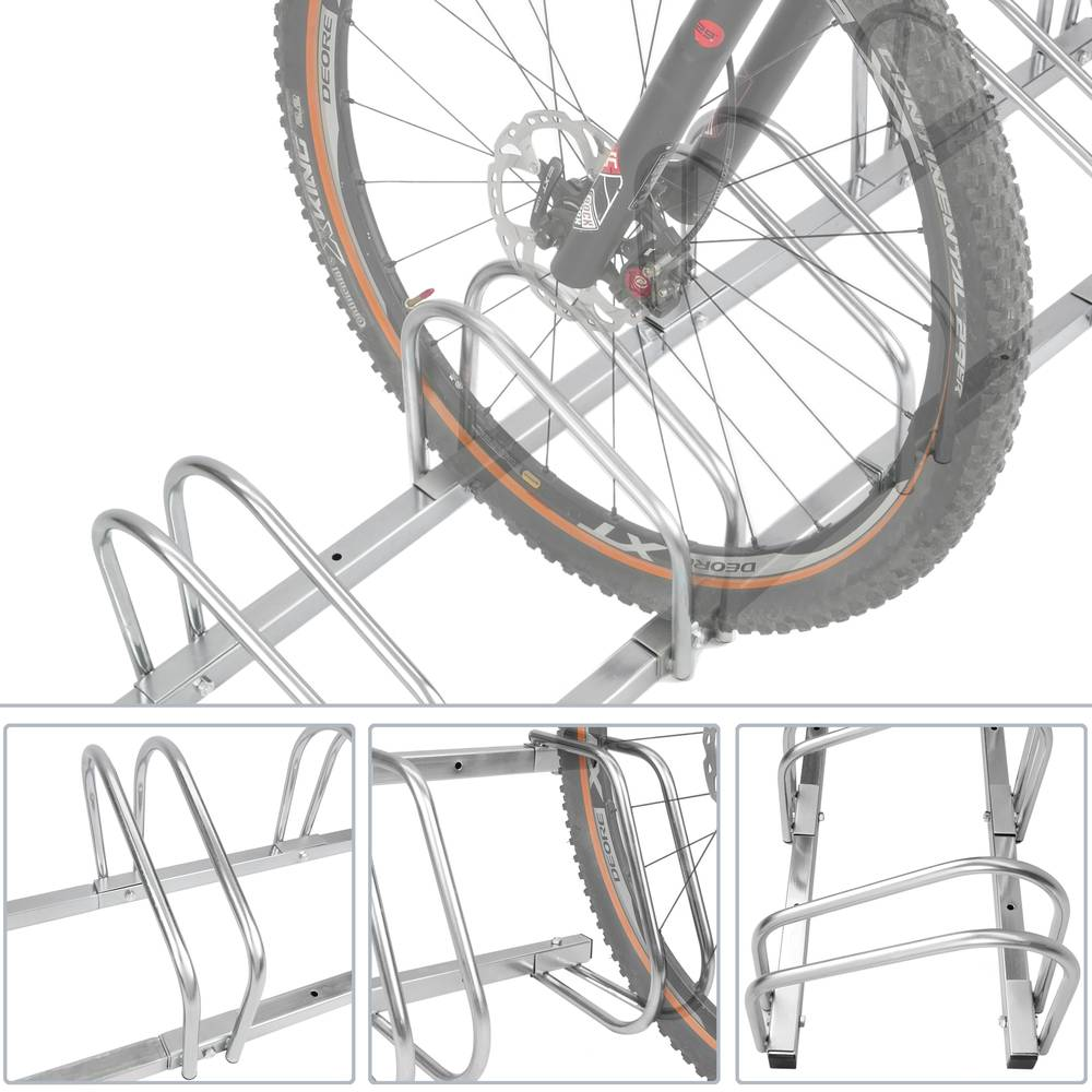 4 Bike Bicycle Rack Floor Stand Parking Garage Storage Freestanding Ground Mount
