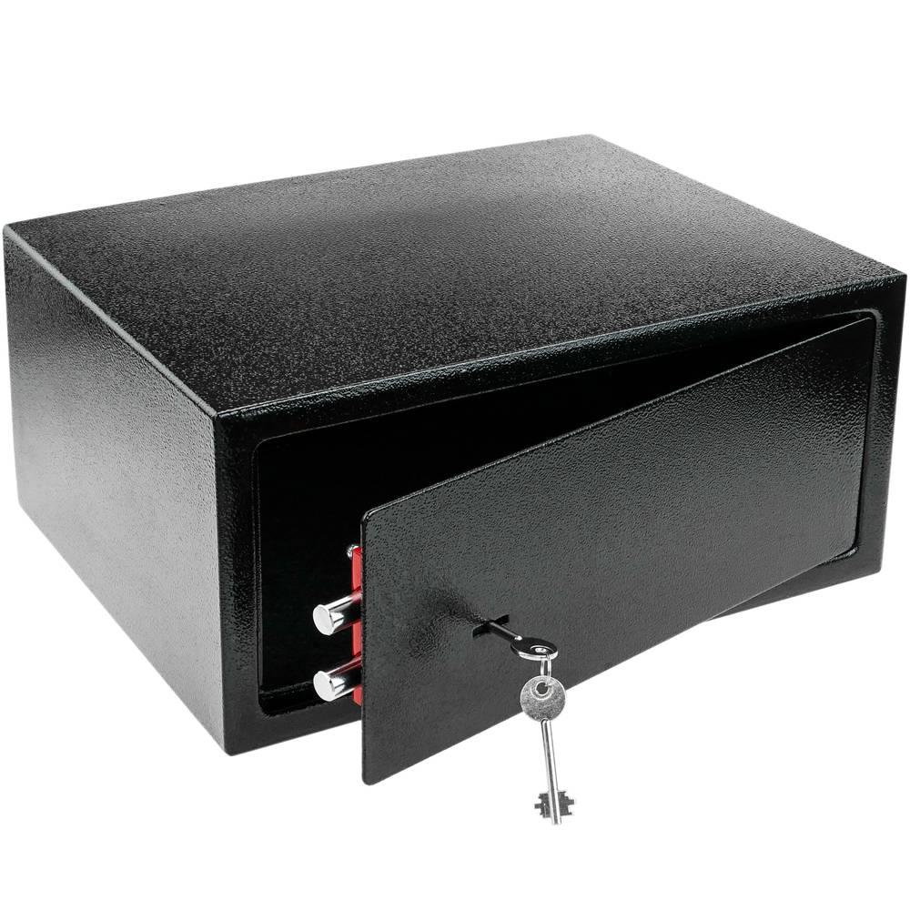 PrimeMatik Caja Fuerte de Seguridad de Acero y con Llaves 31 x 20 x 20 cm Beige
