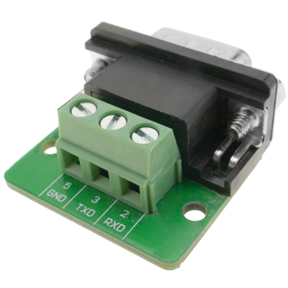 Adapter serial connection DB9-male to 3-pin terminal block