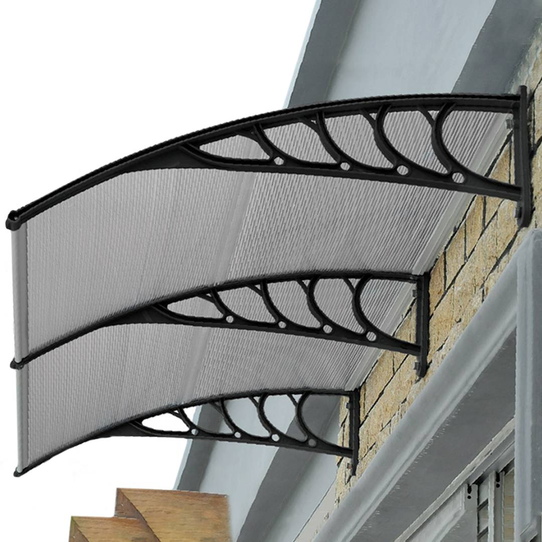 Patio cover shelter with black support PrimeMatik Canopy awning for door and window 150x90 cm dark gray