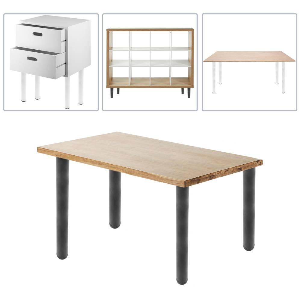 Pies redondos para mesa y mueble Patas en acero cromado de 40cm