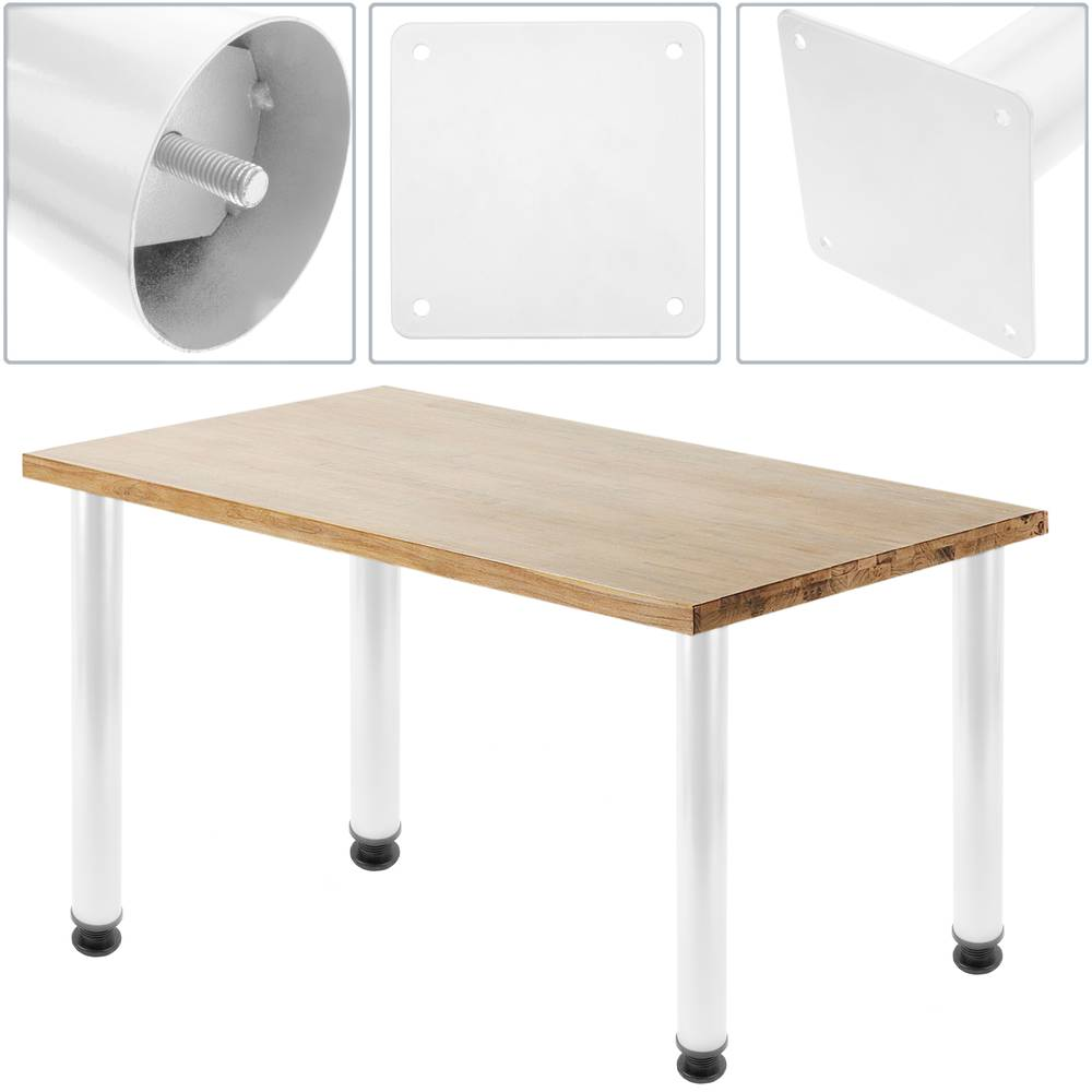 Round Table Legs For Desks Cabinets Furniture Made Of White Steel 72 75 Cm 4 Pack Cablematic
