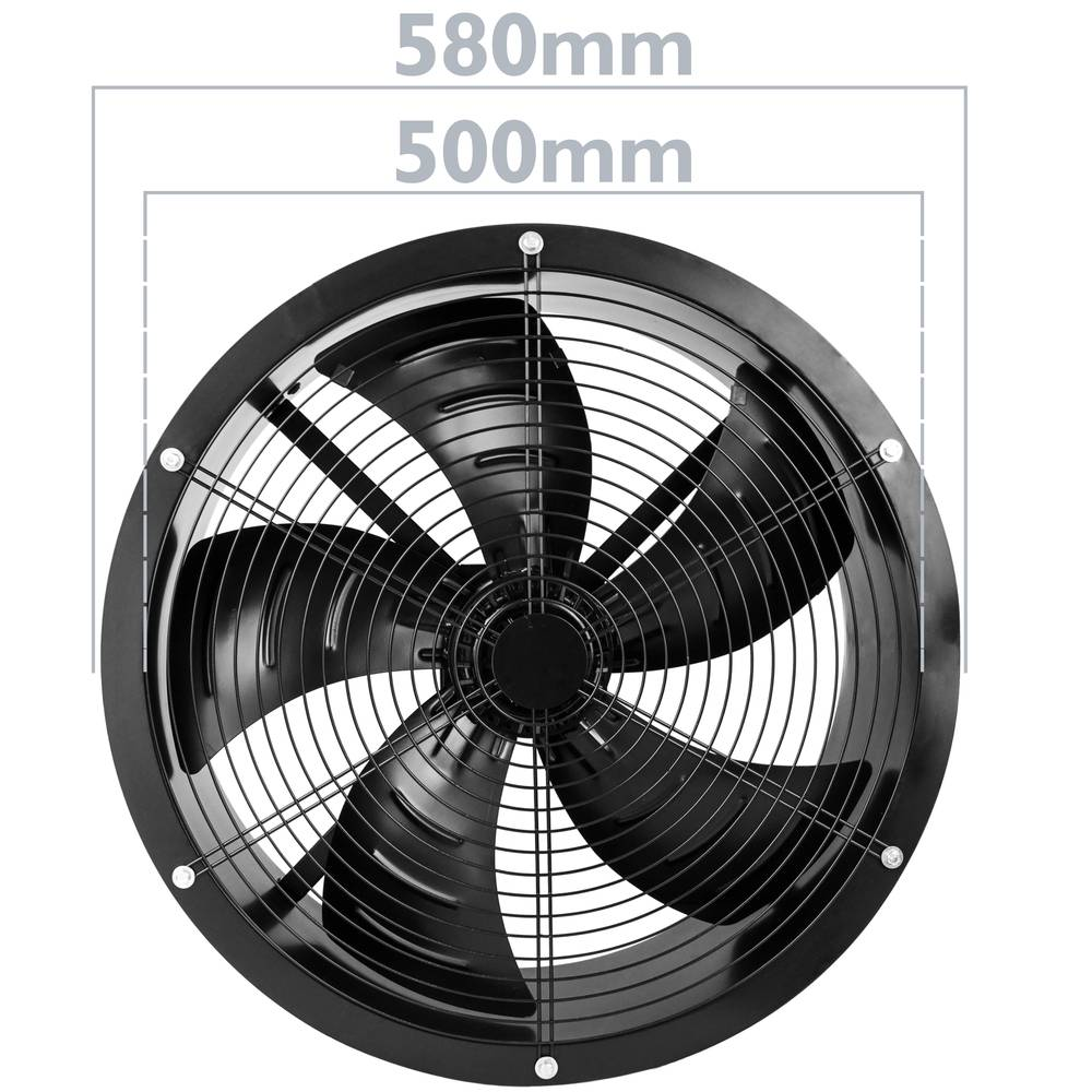 Ducting industrial air extractor fan of 500 mm for inline