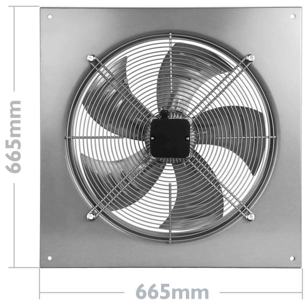 PrimeMatik Extractor de Aire de Pared de 500 mm para ventilaci/ón Industrial 1350 RPM Cuadrado 665x665x95 mm