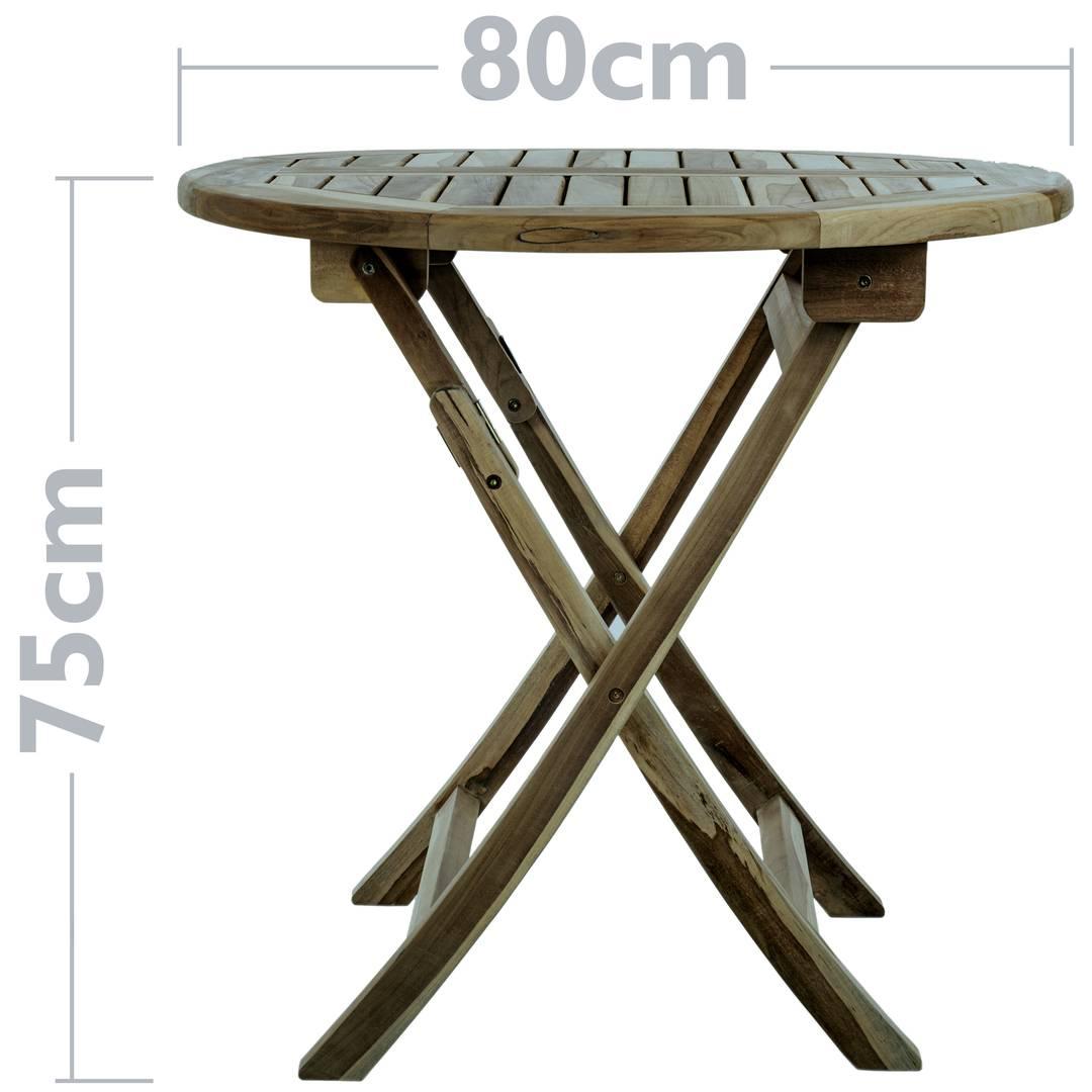 Tavolo da giardino rotondo pieghevole 80 cm in legno di ...
