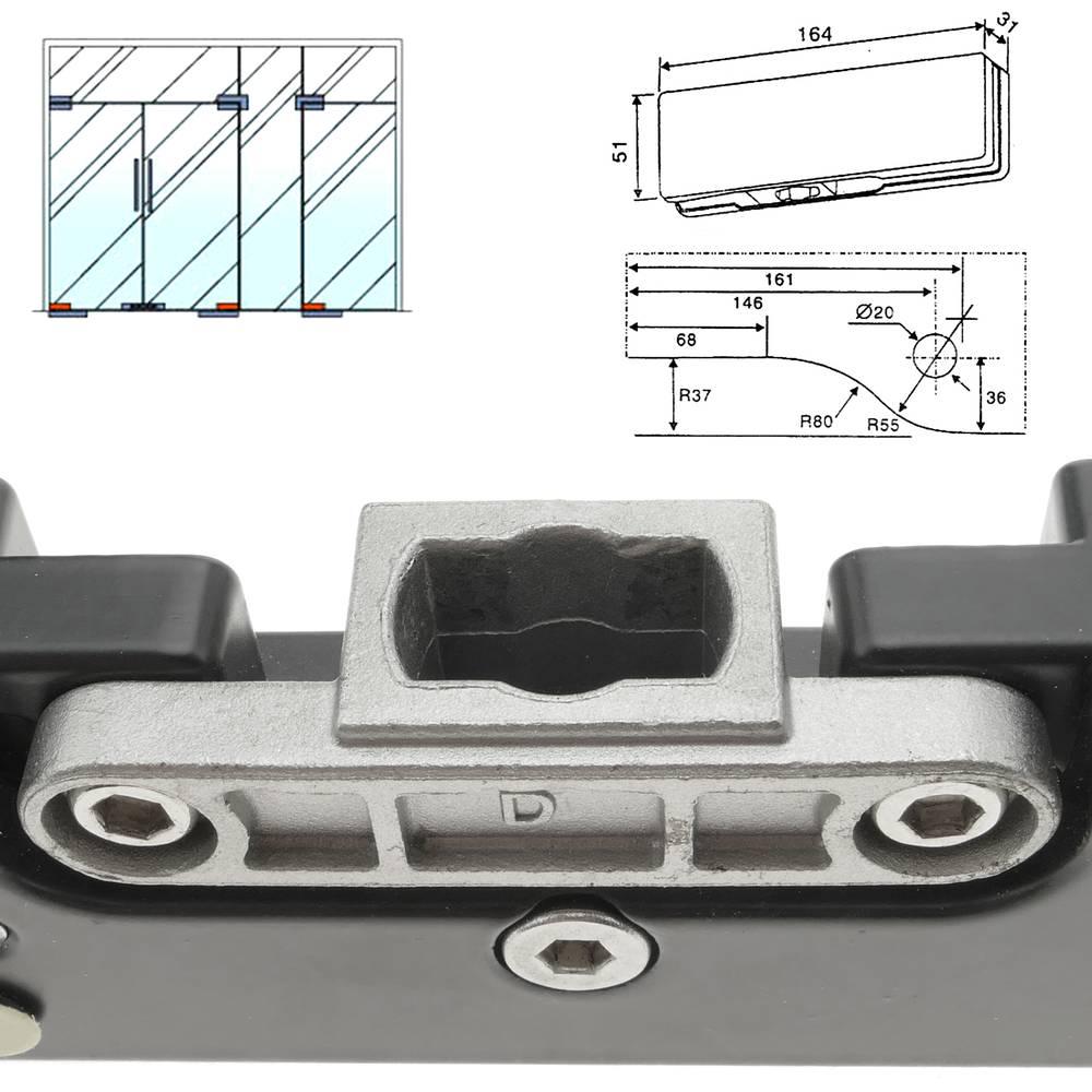 Door patch fitting  Lower corner hinge in aluminum for floor