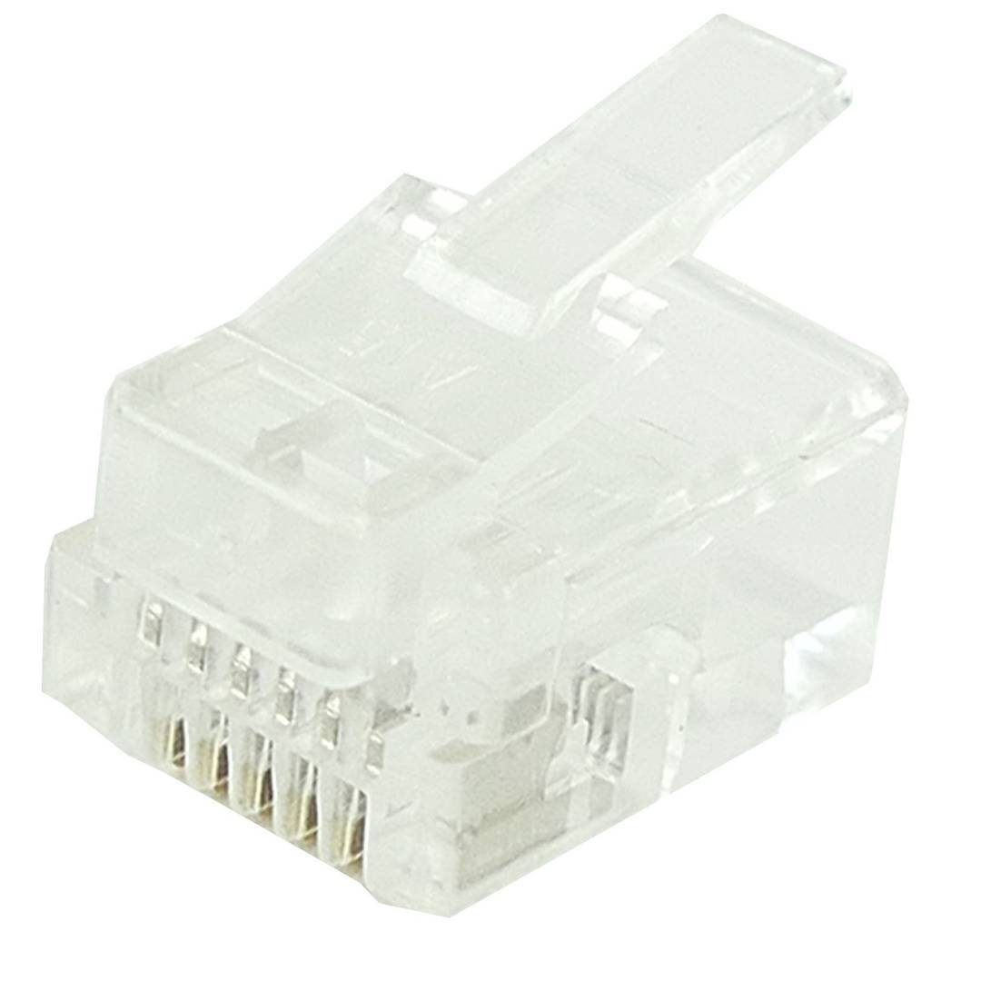 Rj12 Phone Jack 6p6c Male To Crimp Pack Of 100 Units Cablematic