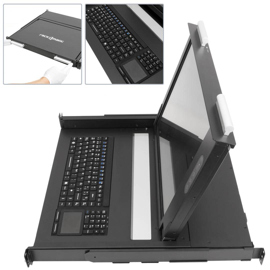 Rackschrank Ip65 Konsole 19 1u Mousepad Tastatur Und Bildschirm 17 Vga Fur Server Rack Cablematic