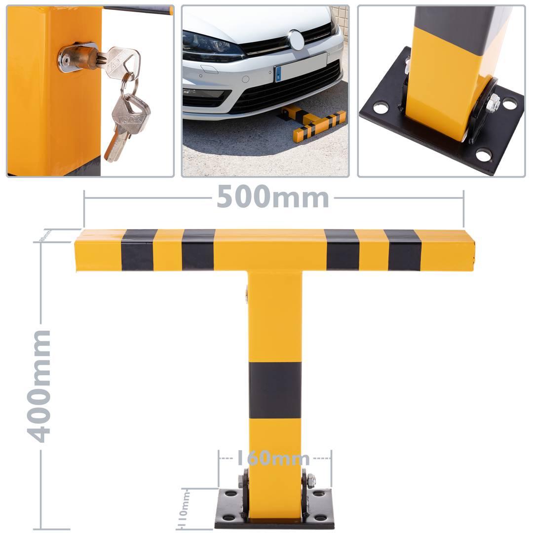 Cablematic Pilona de Acero Plegable bolardo abatible con Cerradura 70x500x400mm