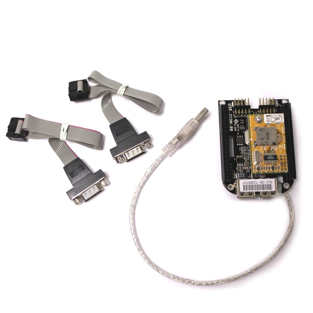 Black USB Adapter BEAGLEBONE 2 RS232 and microSD - Cablematic
